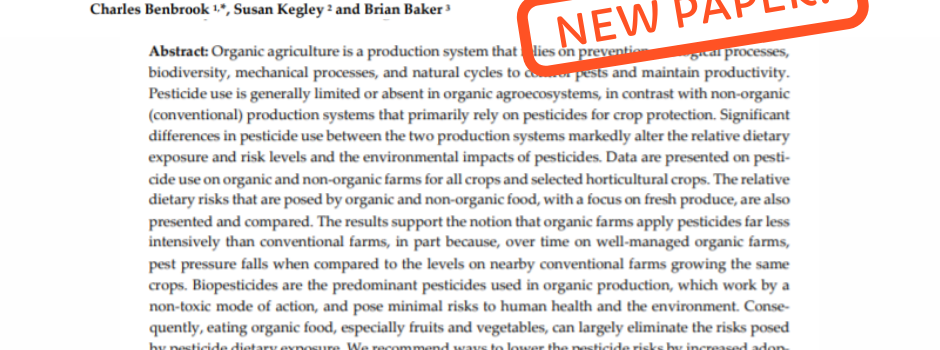 HHRA Paper Quantifies Impact of Organic Farming on Pesticide Use and Dietary Risks